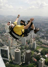 Gary Cunningham jumping off KL Tower.