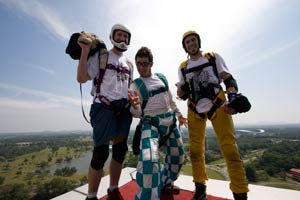 Menara Pelita BASE jumpers Gary, Dan and Douggs at the launch point